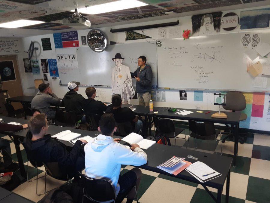 Mr. Magtutu teaches from the words of his favorite scientist, Albert Einstein.